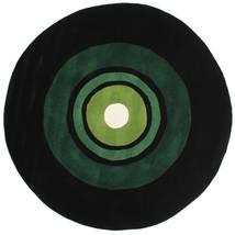 Schallplatte Handtufted Matto Ø 150 Moderni Pyöreä Tummanvihreä (Villa, Intia)