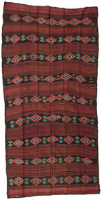 Kelim Semiantiikki Turkki Matto 145X270 Itämainen Käsinkudottu Tummanpunainen/Tummanruskea (Villa, Turkki)