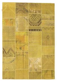 Patchwork Matto 159X231 Moderni Käsinsolmittu Keltainen/Oliivinvihreä (Villa, Turkki)