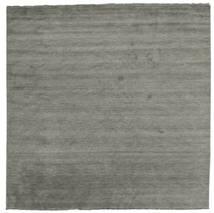 Handloom Fringes - Tummanharmaa Matto 300X300 Moderni Neliö Tummanharmaa Isot (Villa, Intia)