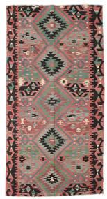 Kelim Semiantiikki Turkki Matto 159X314 Itämainen Käsinkudottu Tummanruskea/Ruskea (Villa, Turkki)