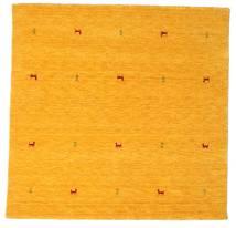 Gabbeh Loom Two Lines - Keltainen Matto 200X200 Moderni Neliö Oranssi/Keltainen (Villa, Intia)