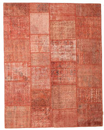 Patchwork Matto 199X251 Moderni Käsinsolmittu Punainen/Vaaleanpunainen (Villa, Turkki)