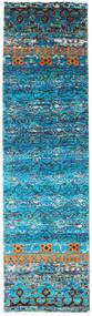 Quito - Turquoise Matto 80X300 Moderni Käsinsolmittu Käytävämatto Siniturkoosi/Sininen (Silkki, Intia)