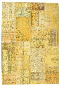 Patchwork Matto 160X228 Moderni Käsinsolmittu Keltainen/Oliivinvihreä (Villa, Turkki)