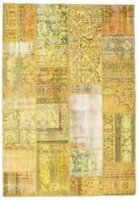Patchwork Matto 162X235 Moderni Käsinsolmittu Keltainen/Oliivinvihreä (Villa, Turkki)