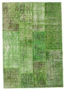 Patchwork Matto 141X202 Moderni Käsinsolmittu Tummanvihreä/Vaaleanvihreä/Vihreä (Villa, Turkki)