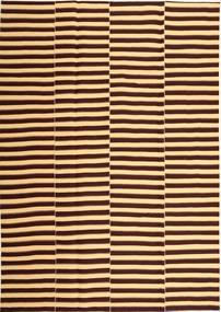 Kelim Moderni Matto 221X318 Moderni Käsinkudottu Tummanruskea/Vaaleanruskea (Puuvilla, Persia/Iran)