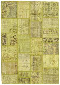 Patchwork Matto 141X201 Moderni Käsinsolmittu Oliivinvihreä/Keltainen (Villa, Turkki)