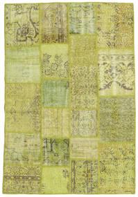 Patchwork Matto 136X203 Moderni Käsinsolmittu Oliivinvihreä/Keltainen (Villa, Turkki)