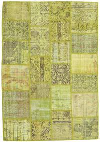 Patchwork Matto 138X202 Moderni Käsinsolmittu Vaaleanvihreä/Oliivinvihreä/Keltainen (Villa, Turkki)
