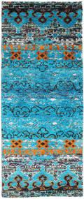 Quito - Turquoise Matto 80X200 Moderni Käsinsolmittu Käytävämatto Siniturkoosi/Vaaleanharmaa (Silkki, Intia)