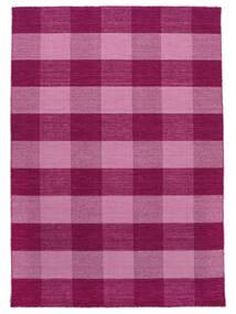Check Kilim Matto 210X290 Moderni Käsinkudottu Pinkki/Vaaleanpunainen (Villa, Intia)