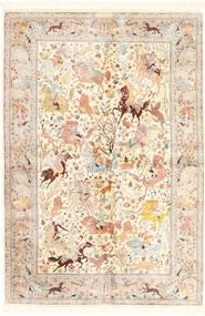 Ghom Silkki Matto 140X211 Itämainen Käsinsolmittu Beige/Keltainen (Silkki, Persia/Iran)