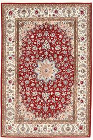 Isfahan Silkkiloimi Matto 132X198 Itämainen Käsinsolmittu Tummanpunainen/Beige (Villa/Silkki, Persia/Iran)