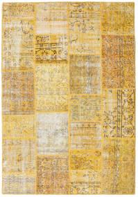 Patchwork Matto 158X230 Moderni Käsinsolmittu Keltainen/Vaaleanruskea (Villa, Turkki)