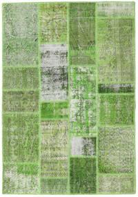 Patchwork Matto 139X202 Moderni Käsinsolmittu Pastellinvihreä/Vaaleanvihreä (Villa, Turkki)