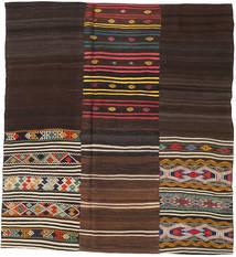 Kelim Patchwork Matto 208X226 Moderni Käsinkudottu Neliö Tummanruskea/Beige (Villa, Turkki)
