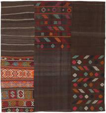 Kelim Patchwork Matto 206X217 Moderni Käsinkudottu Neliö Tummanruskea (Villa, Turkki)
