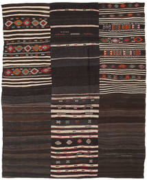 Kelim Patchwork Matto 193X238 Moderni Käsinkudottu Tummanruskea/Vaaleanharmaa (Villa, Turkki)