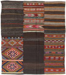 Kelim Patchwork Matto 198X234 Moderni Käsinkudottu Tummanruskea (Villa, Turkki)