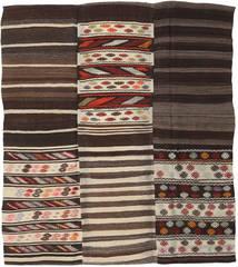 Kelim Patchwork Matto 192X220 Moderni Käsinkudottu Tummanruskea/Beige (Villa, Turkki)