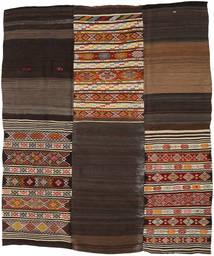 Kelim Patchwork Matto 212X252 Moderni Käsinkudottu Tummanruskea/Vaaleanharmaa (Villa, Turkki)