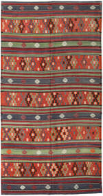 Kelim Turkki Matto 180X343 Itämainen Käsinkudottu Tummanpunainen/Tummansininen (Villa, Turkki)
