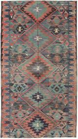 Kelim Turkki Matto 163X292 Itämainen Käsinkudottu Tummanharmaa/Vaaleanruskea (Villa, Turkki)