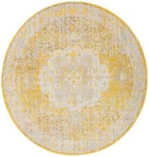 Nadia - Keltainen Matto Ø 200 Moderni Pyöreä Keltainen/Valkoinen/Creme ( Turkki)