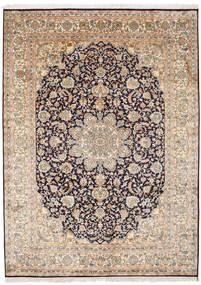 Kashmir 100% Silkki Matto 174X239 Itämainen Käsinsolmittu Vaaleanharmaa/Vaaleanruskea (Silkki, Intia)