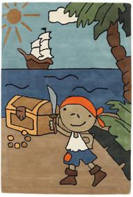 Pirate Handtufted Matto 120X180 Moderni Vaaleanruskea/Musta (Villa, Intia)