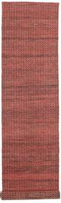 Alva - Dark_Rust/Musta Matto 80X350 Moderni Käsinkudottu Käytävämatto Tummanpunainen/Tummanruskea (Villa, Intia)