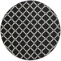 London - Musta/Valkea Matto Ø 225 Moderni Käsinkudottu Pyöreä Musta (Villa, Intia)