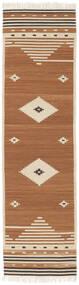 Tribal - Mustard Matto 80X300 Moderni Käsinkudottu Käytävämatto Ruskea/Vaaleanruskea/Beige (Villa, Intia)