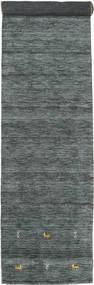 Gabbeh Loom Two Lines - Tummanharmaa/Vihreä Matto 80X450 Moderni Käytävämatto Tummanvihreä/Vaaleanharmaa (Villa, Intia)