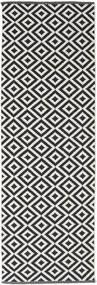 Torun - Musta/Neutral Matto 80X250 Moderni Käsinkudottu Käytävämatto Musta/Vaaleanharmaa (Puuvilla, Intia)