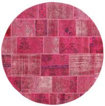 Patchwork Matto Ø 200 Moderni Käsinsolmittu Pyöreä Pinkki/Vaaleanpunainen (Villa, Persia/Iran)