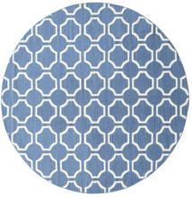 London - Sininen/Valkea Matto Ø 225 Moderni Käsinkudottu Pyöreä Sininen/Valkoinen/Creme (Villa, Intia)