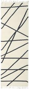 Cross Lines - Valkea/Musta Matto 80X250 Moderni Käsinkudottu Käytävämatto Beige/Tummanharmaa (Villa, Intia)