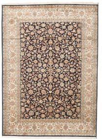 Kashmir 100% Silkki Matto 158X218 Itämainen Käsinsolmittu Beige/Tummanharmaa (Silkki, Intia)