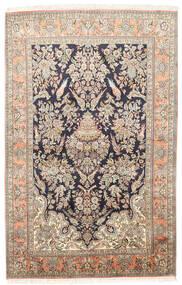 Kashmir 100% Silkki Matto 124X193 Itämainen Käsinsolmittu Tummanbeige/Beige (Silkki, Intia)