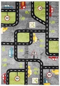 City Roads Matto 160X230 Moderni Tummanharmaa/Vaaleanharmaa/Musta ( Turkki)
