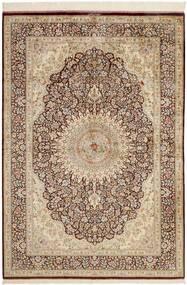 Ghom Silkki Matto 134X196 Itämainen Käsinkudottu Beige/Ruskea (Silkki, Persia/Iran)