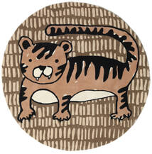 Cool Cat - Beige Matto Ø 150 Moderni Pyöreä Ruskea/Vaaleanruskea (Villa, Intia)