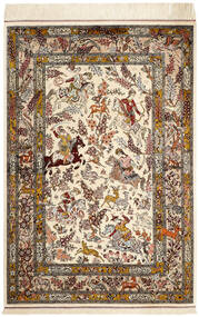Ghom Silkki Matto 98X148 Itämainen Käsinsolmittu Beige/Ruskea (Silkki, Persia/Iran)