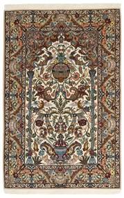 Isfahan Silkkiloimi Matto 127X200 Itämainen Käsinsolmittu Tummanruskea/Vaaleanruskea/Ruskea (Villa/Silkki, Persia/Iran)