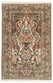 Isfahan Silkkiloimi Matto 106X161 Itämainen Käsinsolmittu Ruskea/Vaaleanruskea (Villa/Silkki, Persia/Iran)
