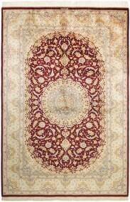 Ghom Silkki Matto 155X235 Itämainen Käsinsolmittu Beige/Tummanbeige (Silkki, Persia/Iran)