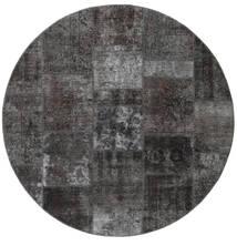 Patchwork - Persien/Iran Matto Ø 200 Moderni Käsinsolmittu Pyöreä Tummanharmaa/Musta (Villa, Persia/Iran)
